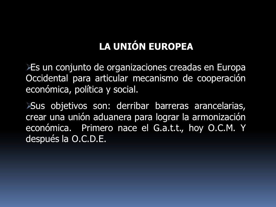 LA UNIÓN EUROPEA Es un conjunto de organizaciones creadas en Europa Occidental para articular mecanismo de cooperación económica, política y social.