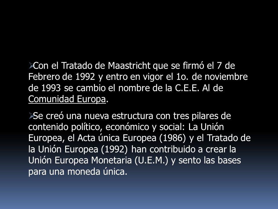Con el Tratado de Maastricht que se firmó el 7 de Febrero de 1992 y entro en vigor el 1o. de noviembre de 1993 se cambio el nombre de la C.E.E. Al de Comunidad Europa.