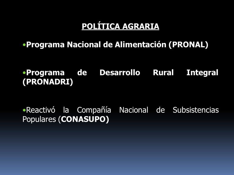 POLÍTICA AGRARIA Programa Nacional de Alimentación (PRONAL) Programa de Desarrollo Rural Integral (PRONADRI)