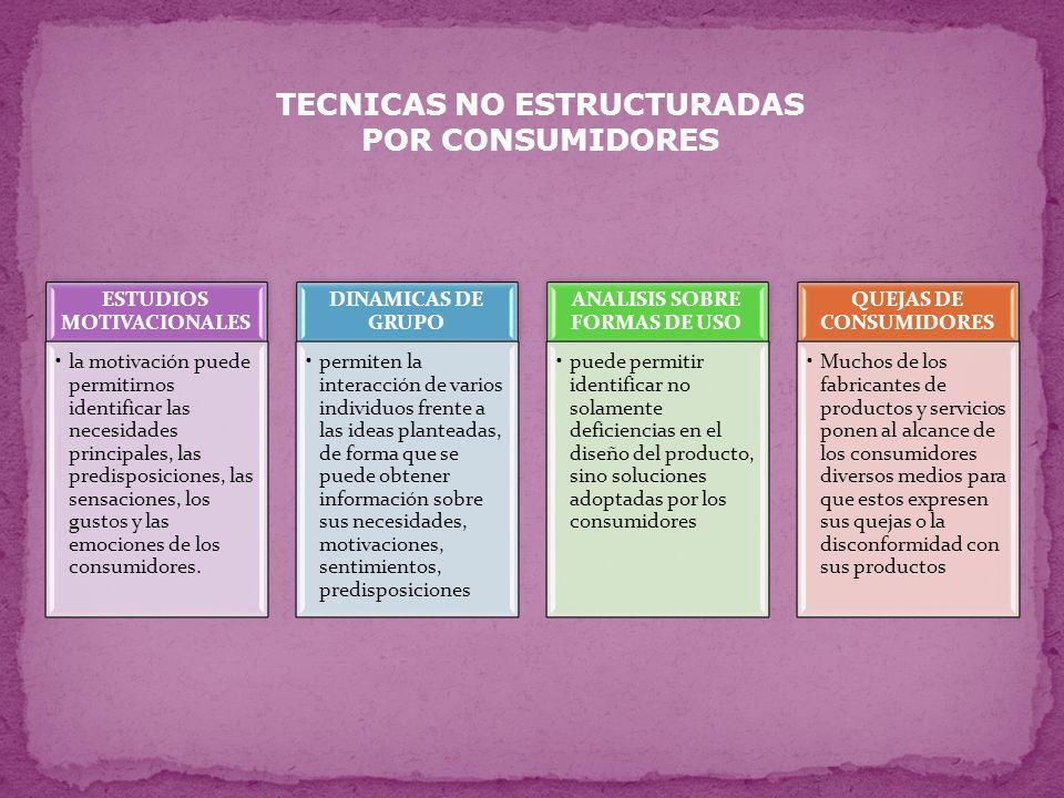TECNICAS NO ESTRUCTURADAS POR CONSUMIDORES