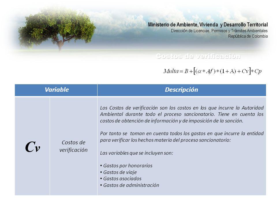 Cv Descripción Costos de verificación Variable Costos de verificación