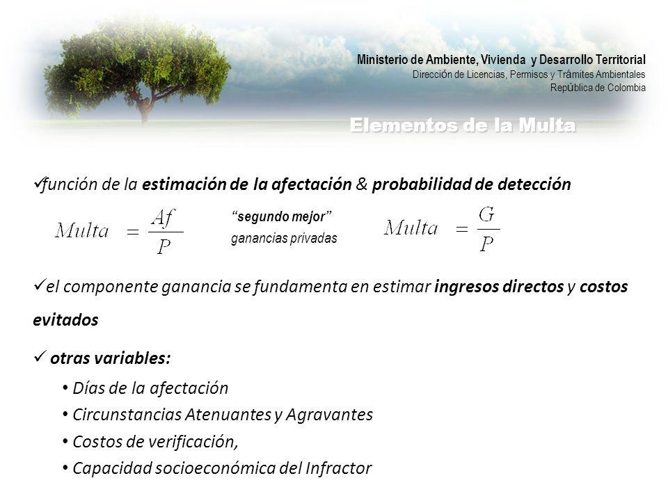 función de la estimación de la afectación & probabilidad de detección
