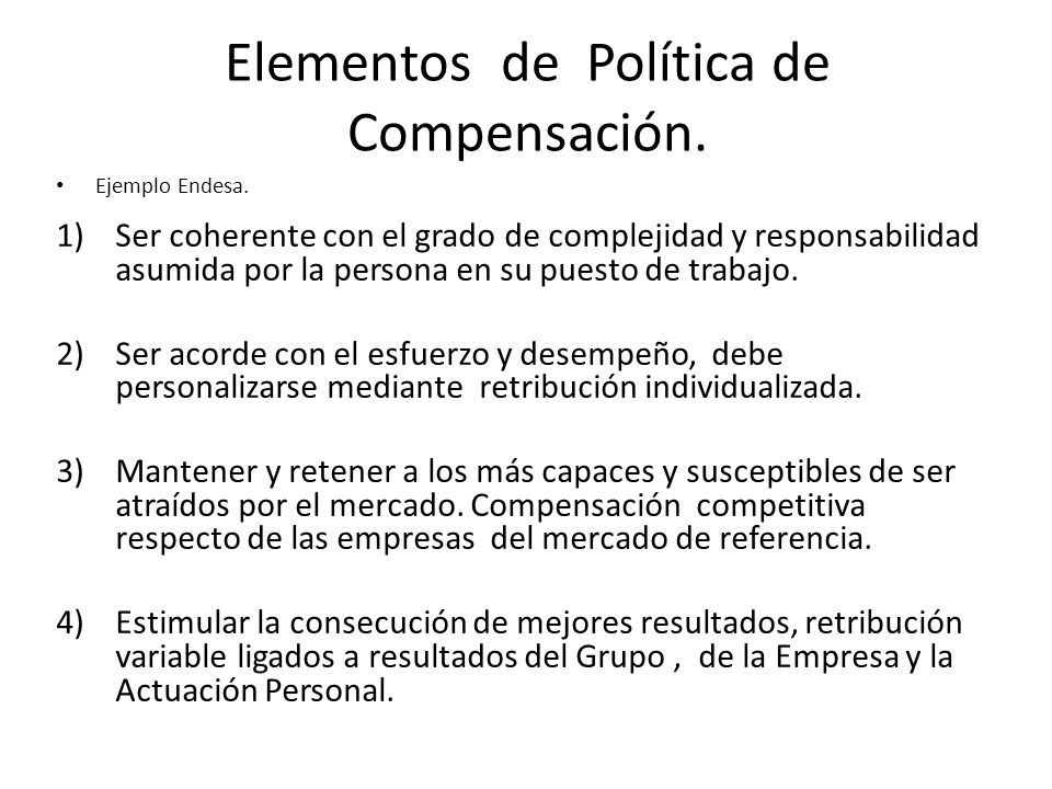 Elementos de Política de Compensación.