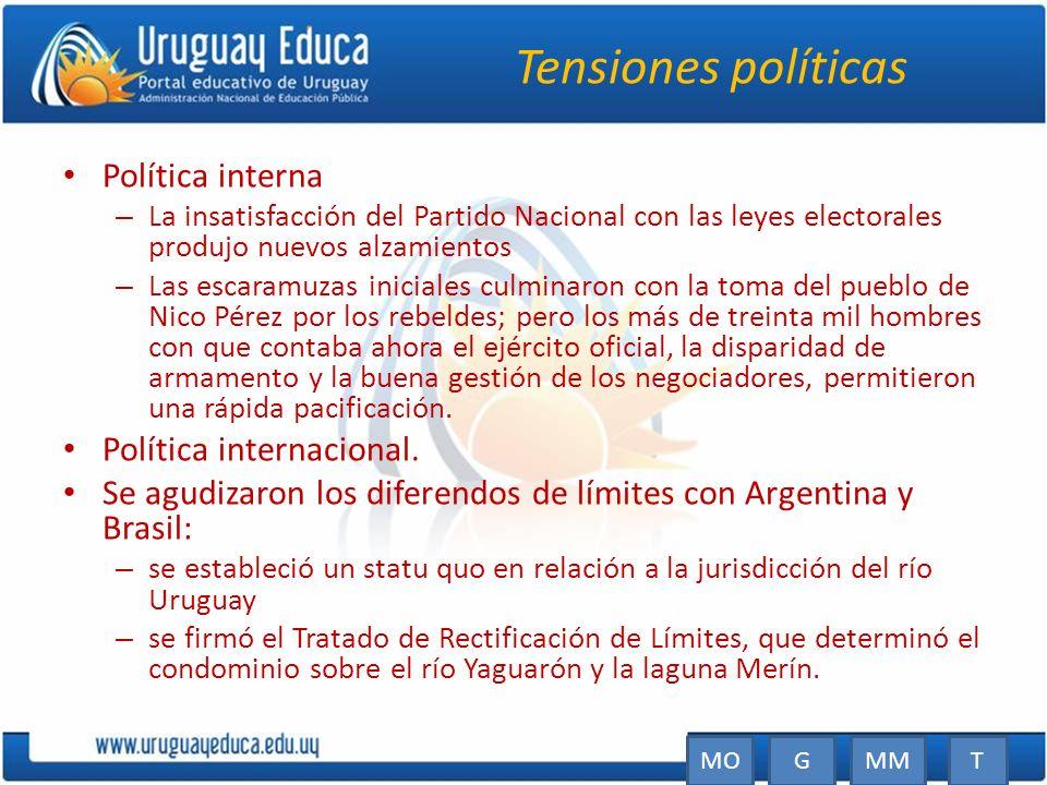 Tensiones políticas Política interna Política internacional.
