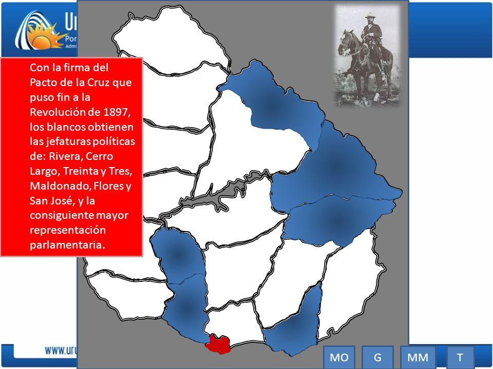 Con la firma del Pacto de la Cruz que puso fin a la Revolución de 1897, los blancos obtienen las jefaturas políticas de: Rivera, Cerro Largo, Treinta y Tres, Maldonado, Flores y San José, y la consiguiente mayor representación parlamentaria.
