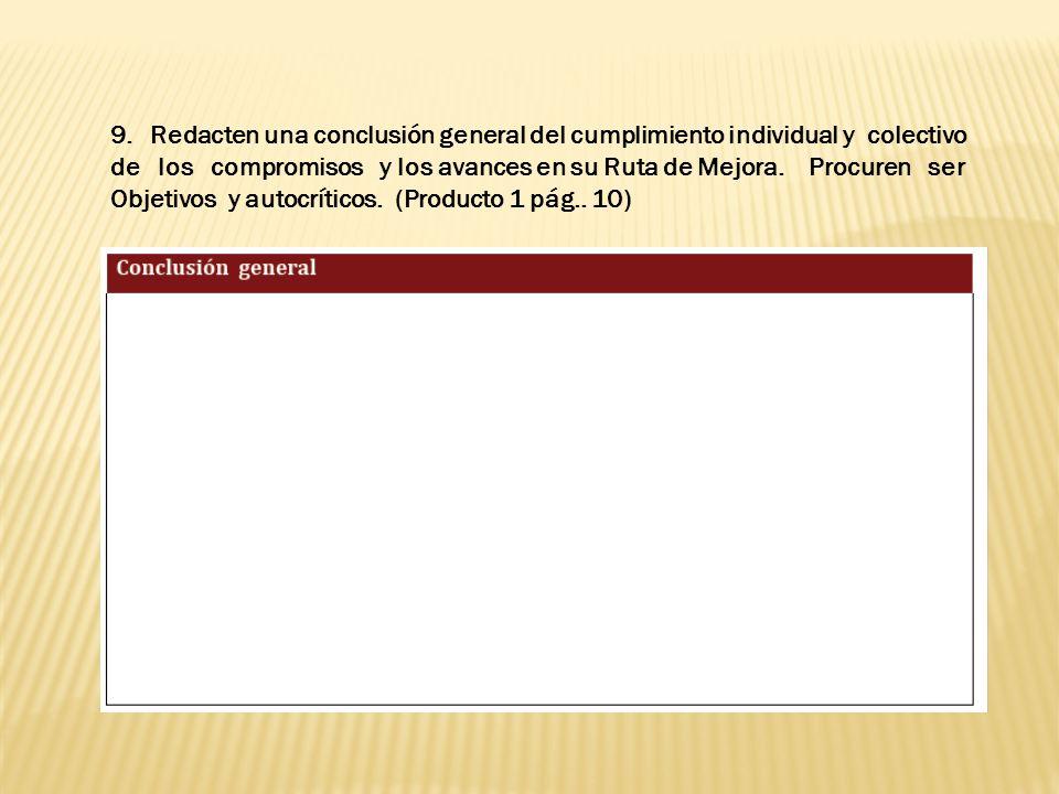Redacten una conclusión general del cumplimiento individual y colectivo