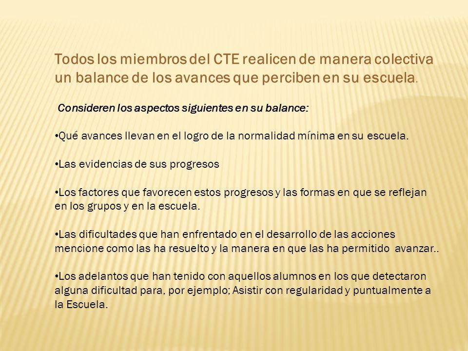 Todos los miembros del CTE realicen de manera colectiva un balance de los avances que perciben en su escuela.