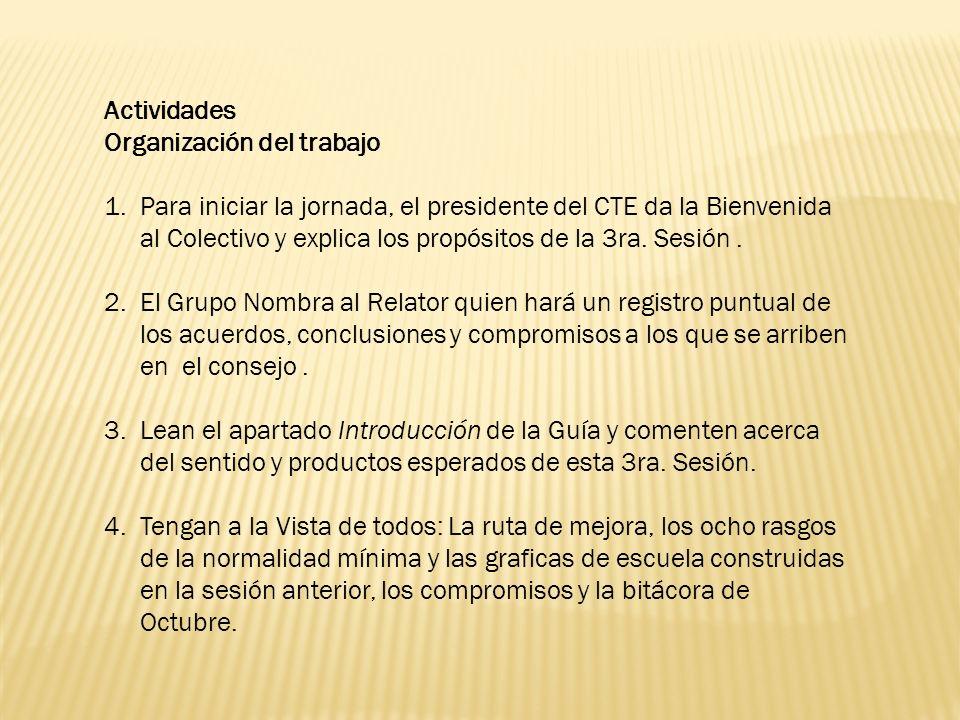 Actividades Organización del trabajo.