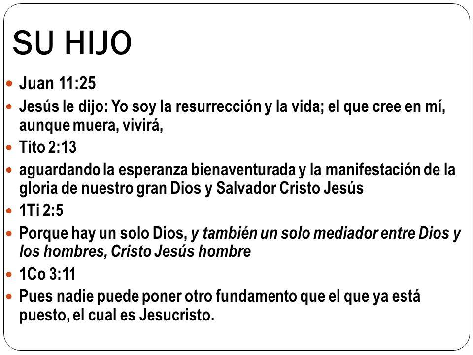 SU HIJO Juan 11:25. Jesús le dijo: Yo soy la resurrección y la vida; el que cree en mí, aunque muera, vivirá,