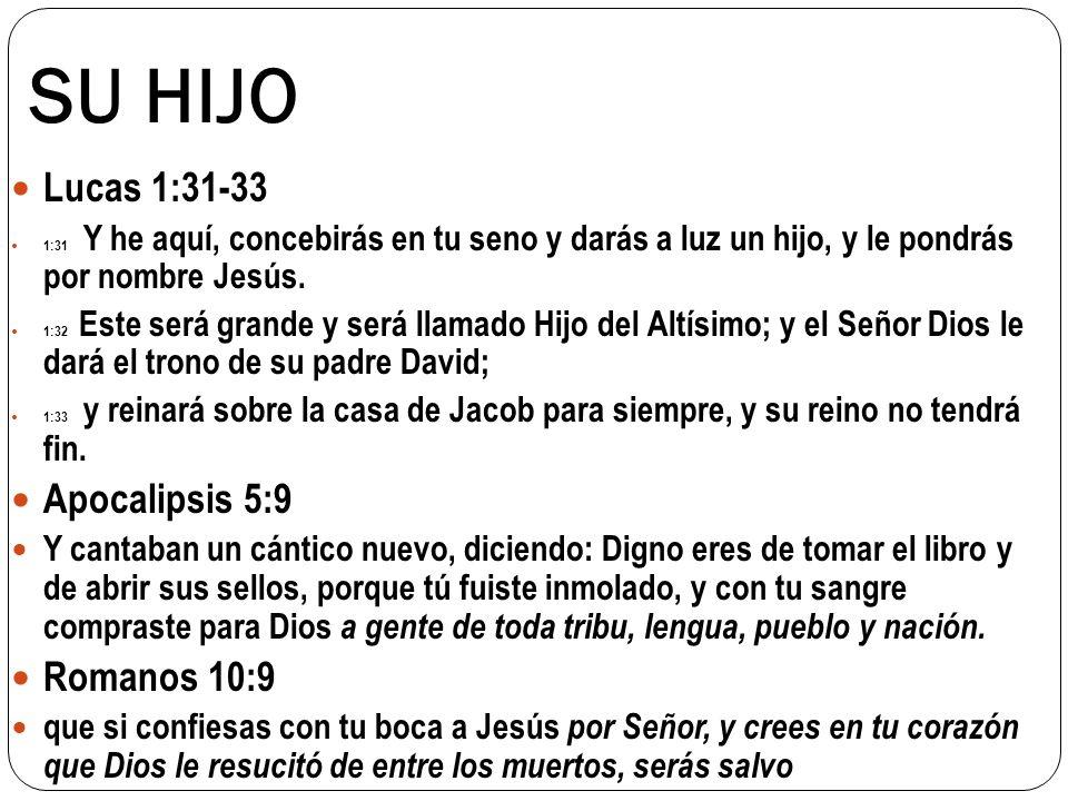SU HIJO Lucas 1:31-33 Apocalipsis 5:9 Romanos 10:9