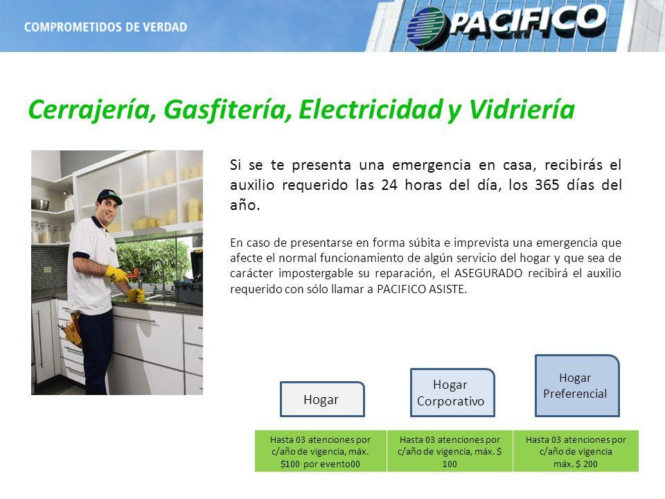 Cerrajería, Gasfitería, Electricidad y Vidriería