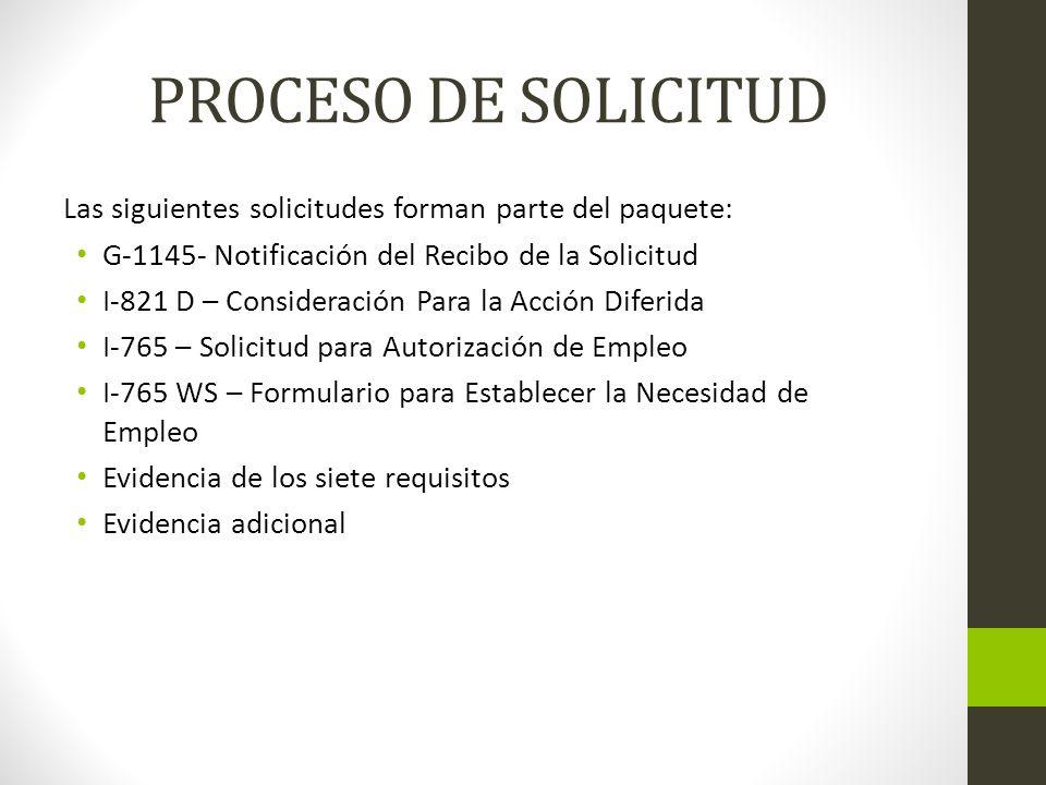 PROCESO DE SOLICITUD Las siguientes solicitudes forman parte del paquete: G-1145- Notificación del Recibo de la Solicitud.