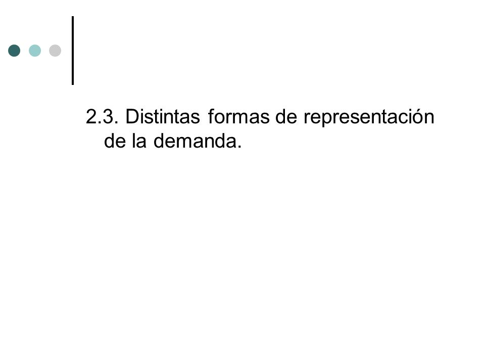 2.3. Distintas formas de representación de la demanda.