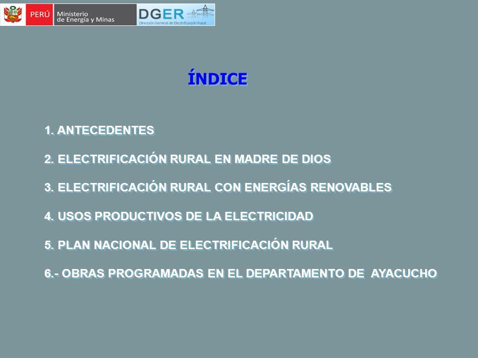 ÍNDICE 1. ANTECEDENTES 2. ELECTRIFICACIÓN RURAL EN MADRE DE DIOS