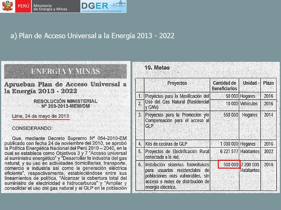 a) Plan de Acceso Universal a la Energía 2013 - 2022