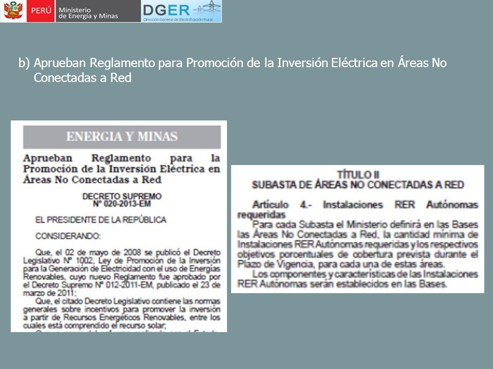 b) Aprueban Reglamento para Promoción de la Inversión Eléctrica en Áreas No