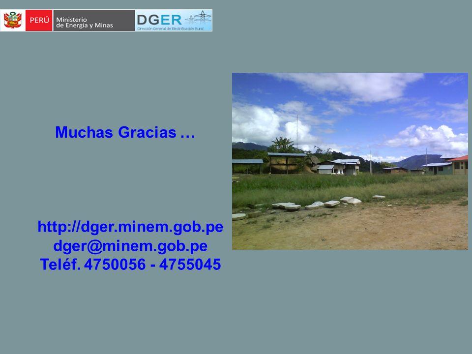 Muchas Gracias … http://dger.minem.gob.pe dger@minem.gob.pe Teléf. 4750056 - 4755045