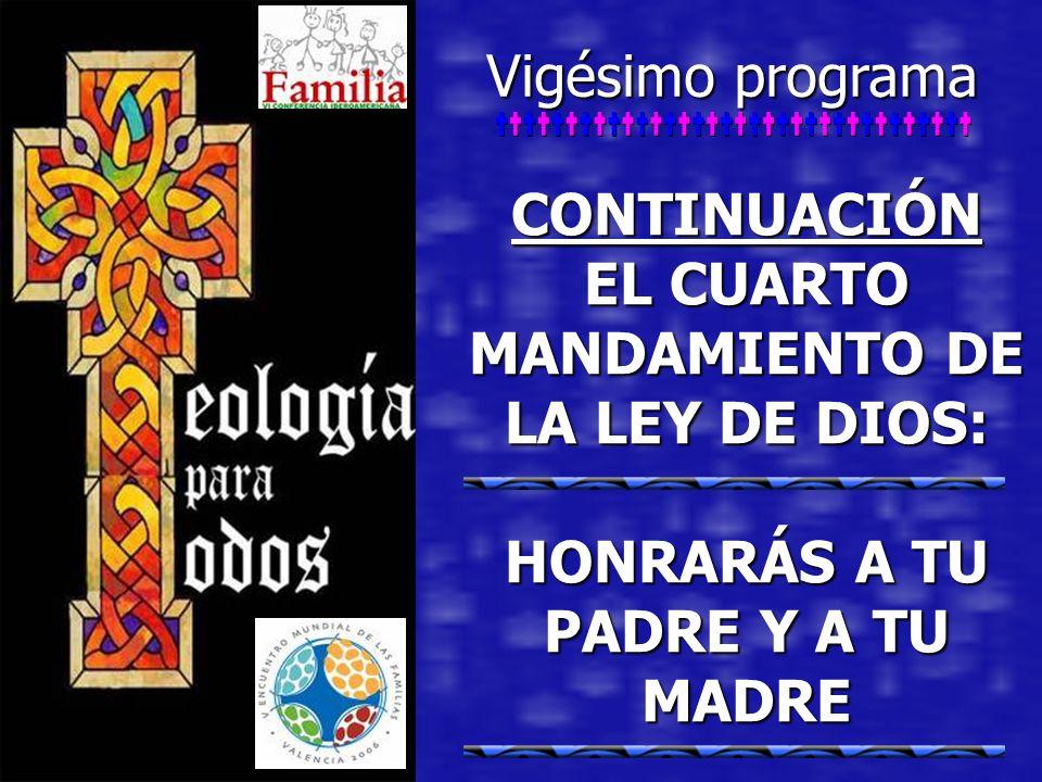Vigésimo programa CONTINUACIÓN EL CUARTO MANDAMIENTO DE LA LEY DE DIOS: HONRARÁS A TU PADRE Y A TU MADRE.