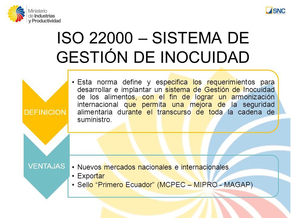 ISO 22000 – SISTEMA DE GESTIÓN DE INOCUIDAD