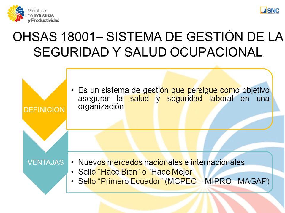 OHSAS 18001– SISTEMA DE GESTIÓN DE LA SEGURIDAD Y SALUD OCUPACIONAL