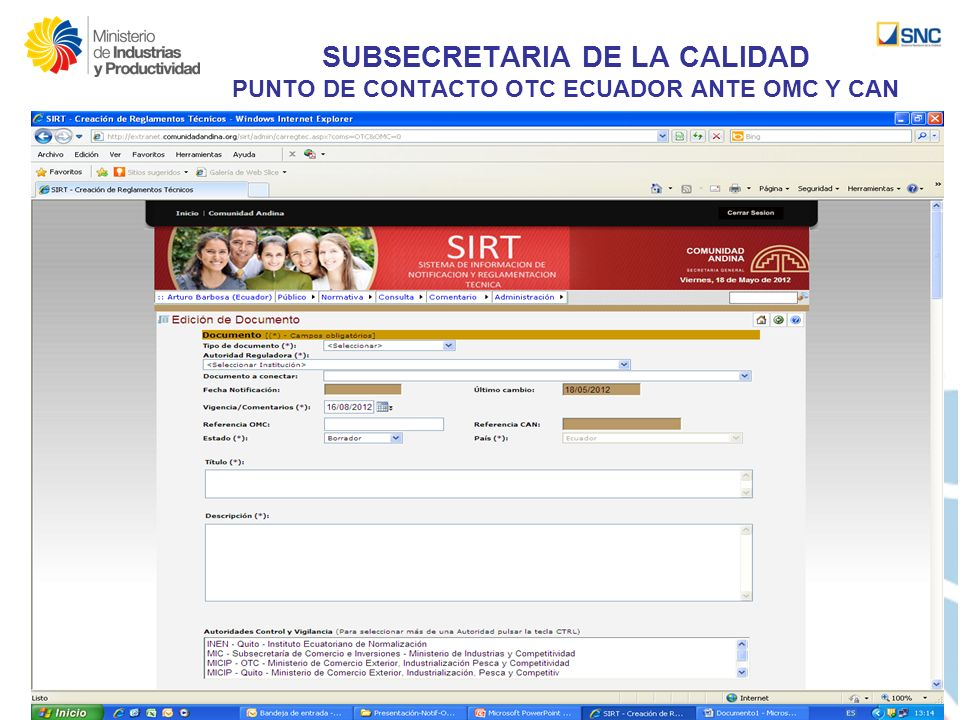 SUBSECRETARIA DE LA CALIDAD PUNTO DE CONTACTO OTC ECUADOR ANTE OMC Y CAN