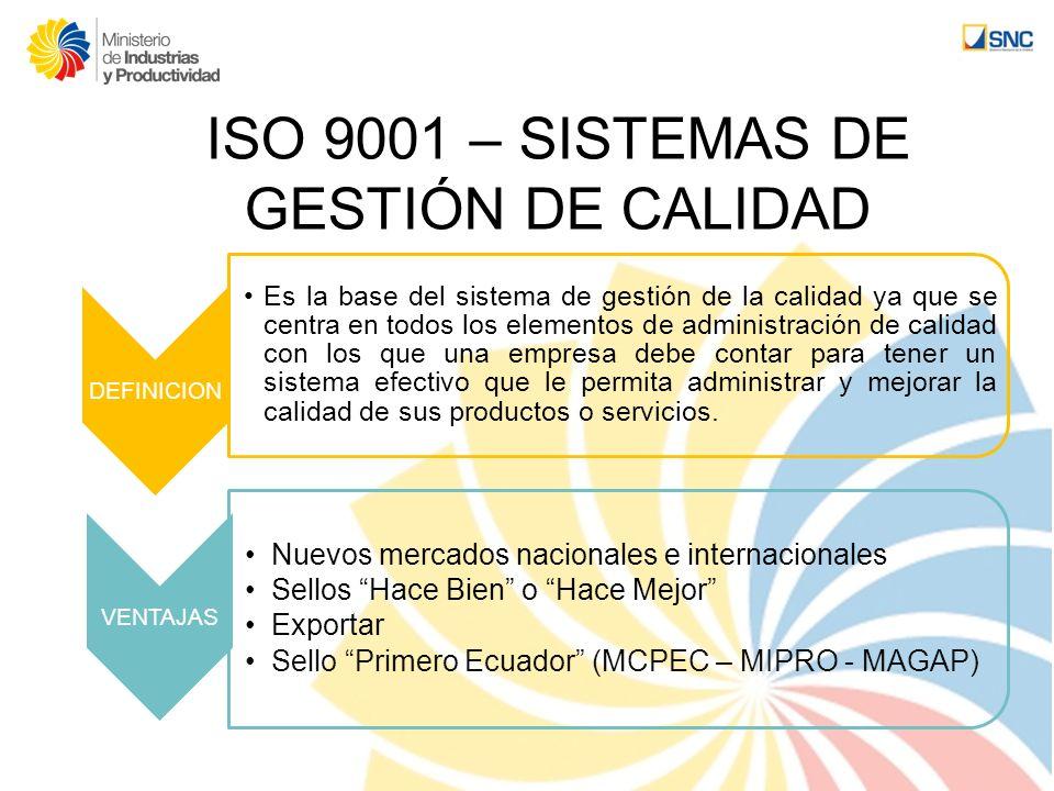 ISO 9001 – SISTEMAS DE GESTIÓN DE CALIDAD
