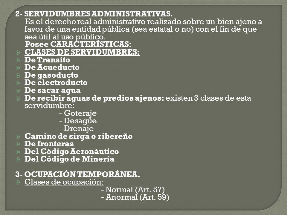2- SERVIDUMBRES ADMINISTRATIVAS.