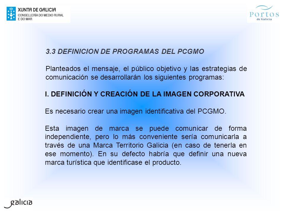 3.3 DEFINICION DE PROGRAMAS DEL PCGMO