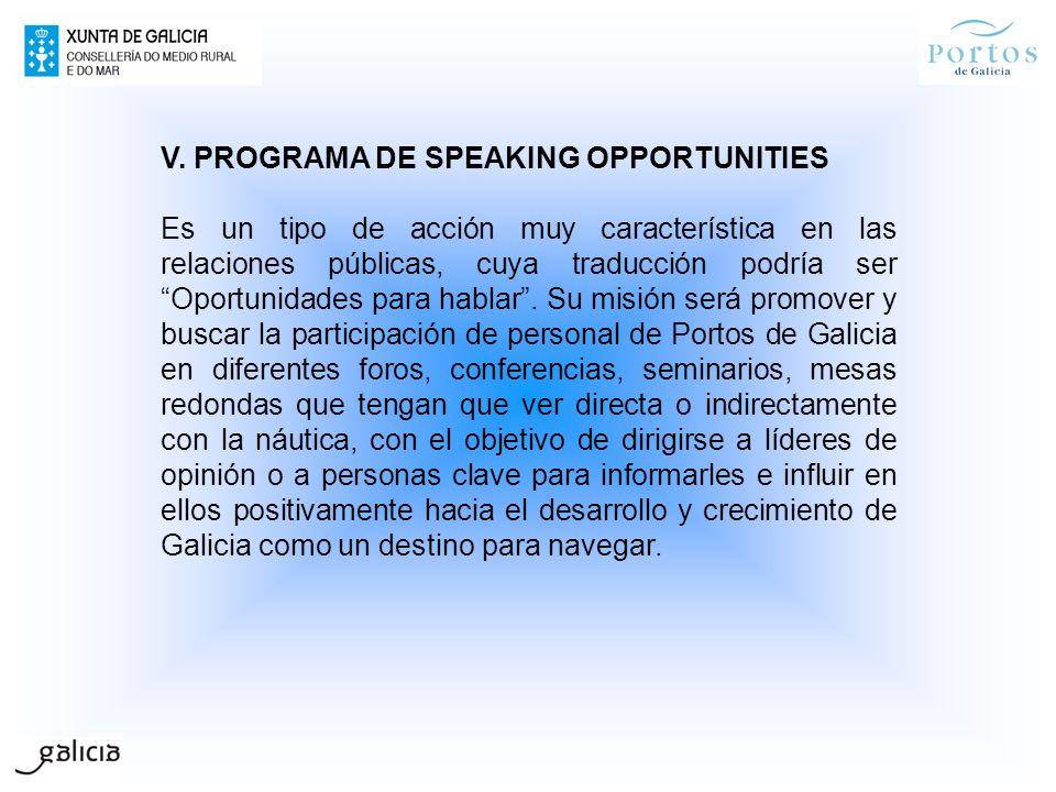 V. PROGRAMA DE SPEAKING OPPORTUNITIES