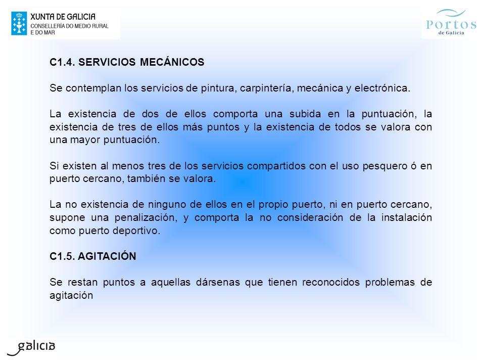 C1.4. SERVICIOS MECÁNICOS Se contemplan los servicios de pintura, carpintería, mecánica y electrónica.