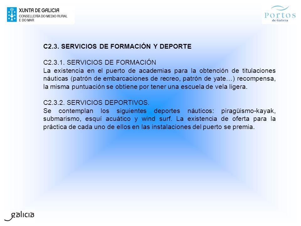 C2.3. SERVICIOS DE FORMACIÓN Y DEPORTE