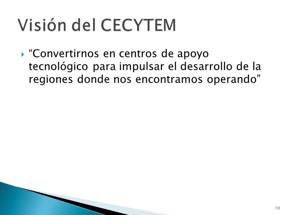Visión del CECYTEM Convertirnos en centros de apoyo tecnológico para impulsar el desarrollo de la regiones donde nos encontramos operando