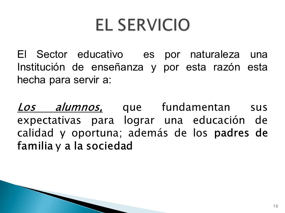 EL SERVICIO El Sector educativo es por naturaleza una Institución de enseñanza y por esta razón esta hecha para servir a: