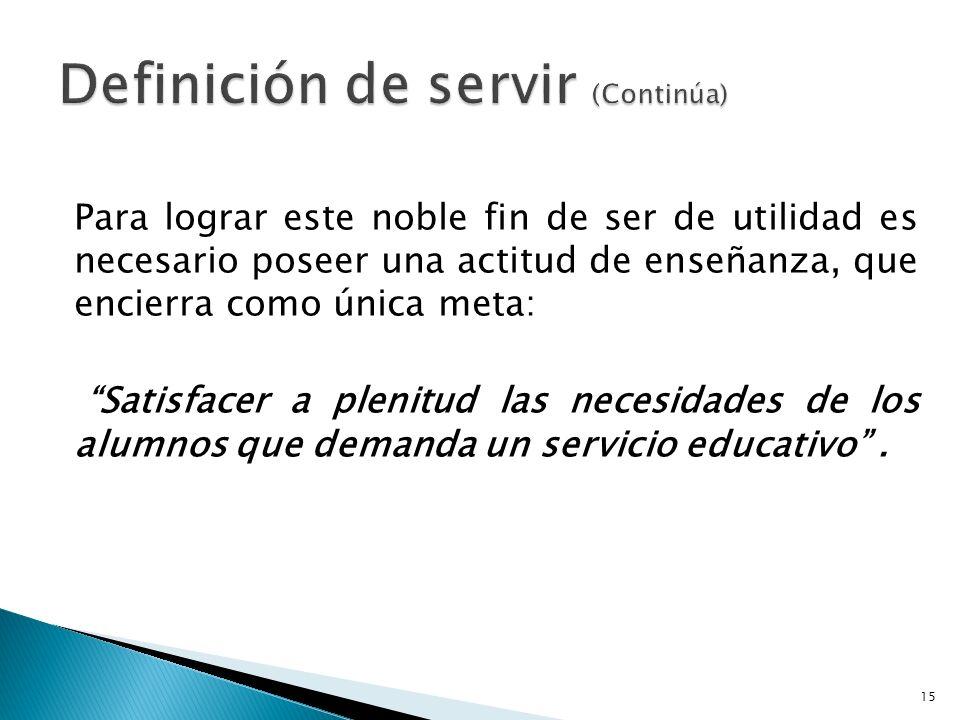 Definición de servir (Continúa)