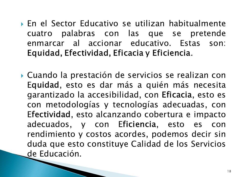 En el Sector Educativo se utilizan habitualmente cuatro palabras con las que se pretende enmarcar al accionar educativo. Estas son: Equidad, Efectividad, Eficacia y Eficiencia.