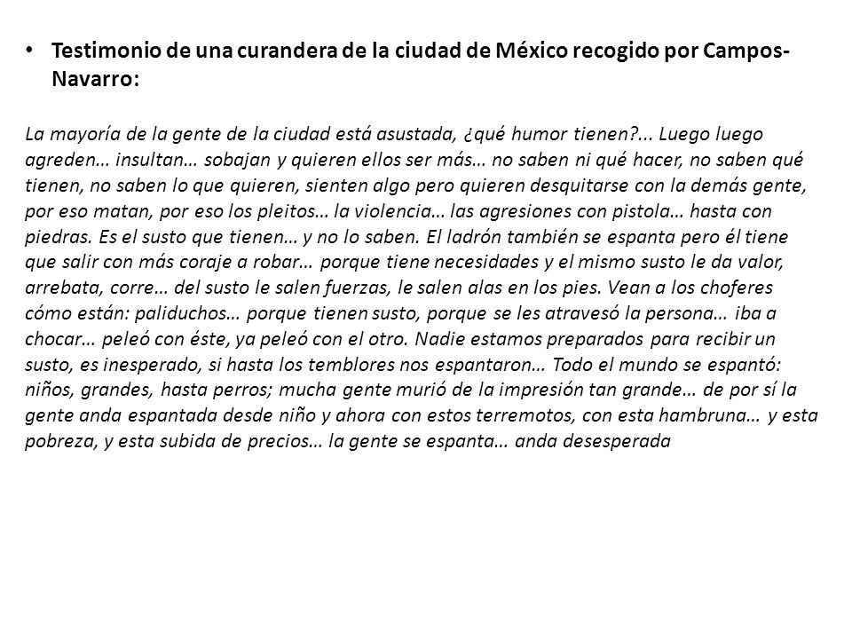 Testimonio de una curandera de la ciudad de México recogido por Campos-Navarro: