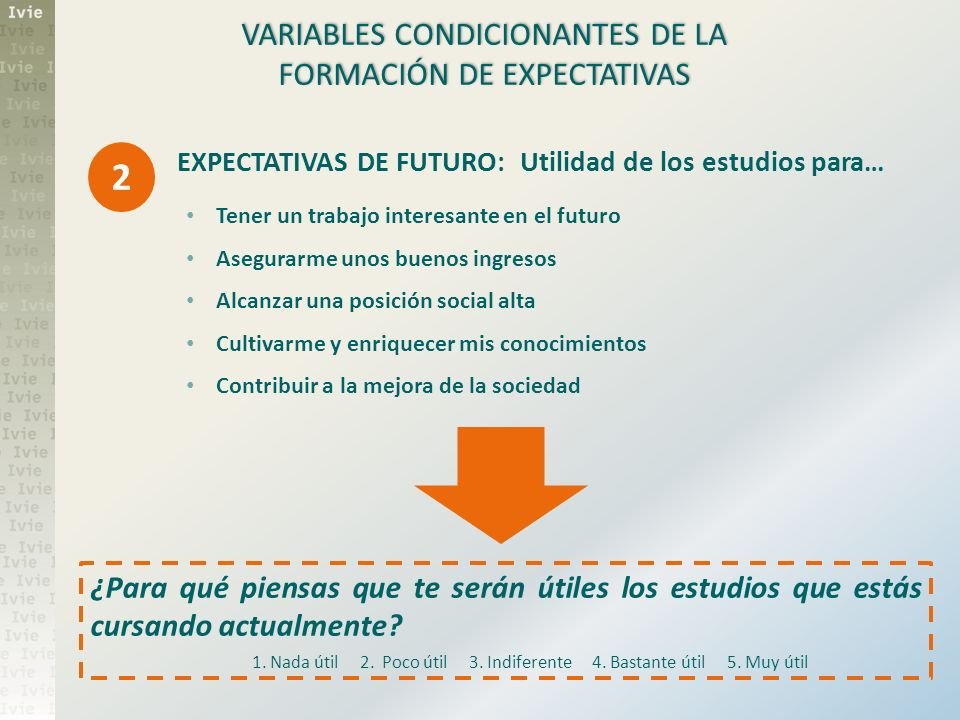 2 VARIABLES CONDICIONANTES DE LA FORMACIÓN DE EXPECTATIVAS