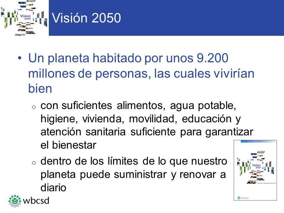 Visión 2050 Un planeta habitado por unos 9.200 millones de personas, las cuales vivirían bien.