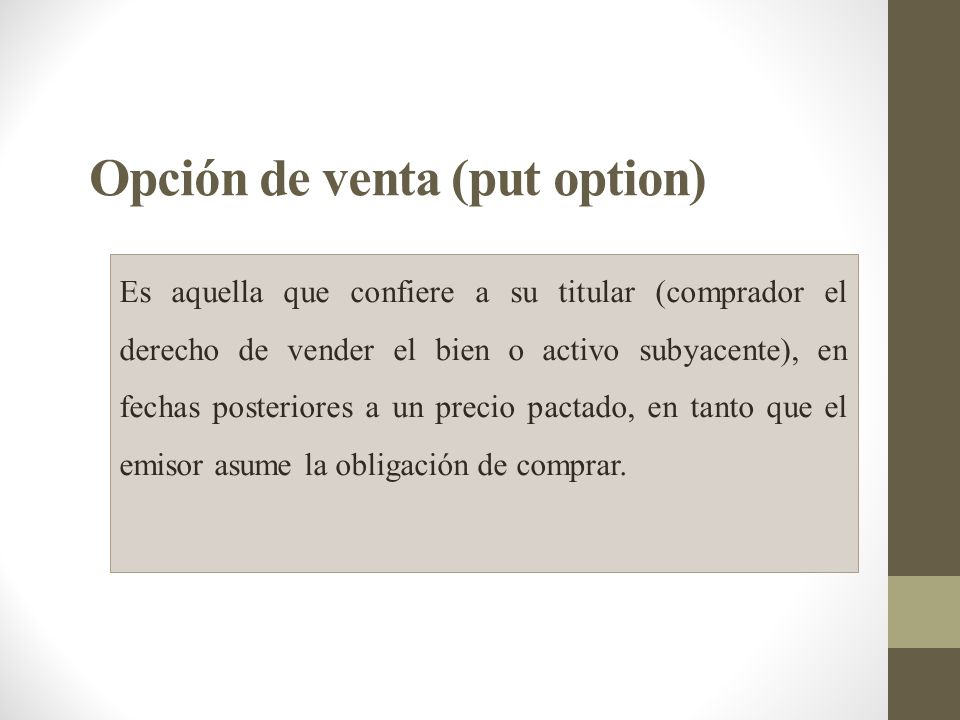 Opción de venta (put option)