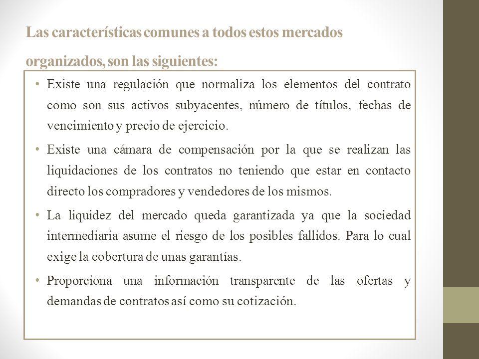 Las características comunes a todos estos mercados organizados, son las siguientes: