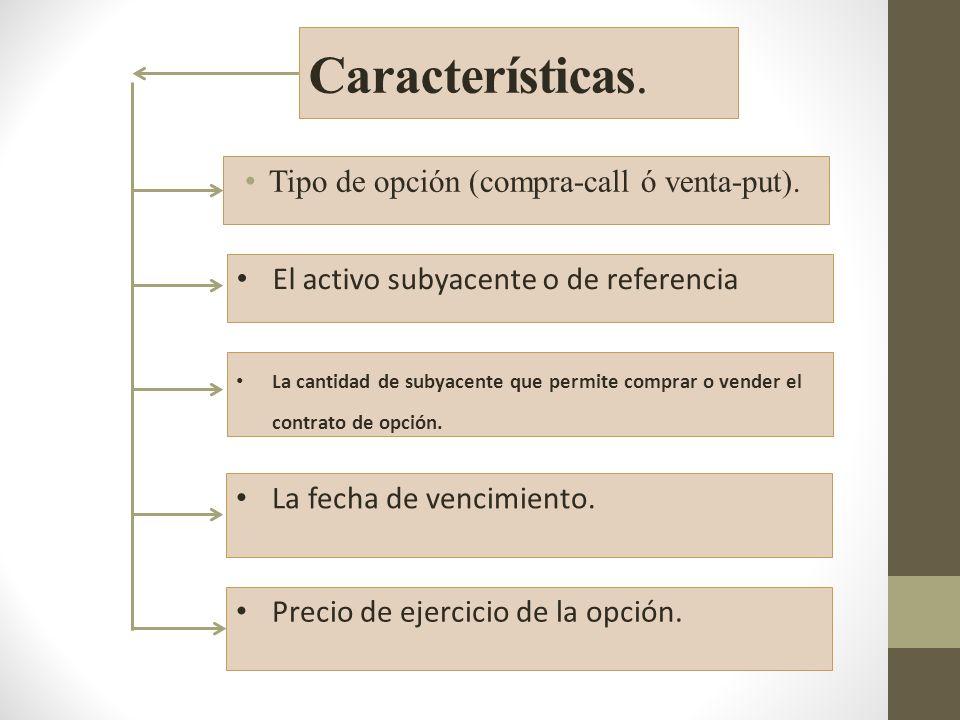 Características. Tipo de opción (compra-call ó venta-put).