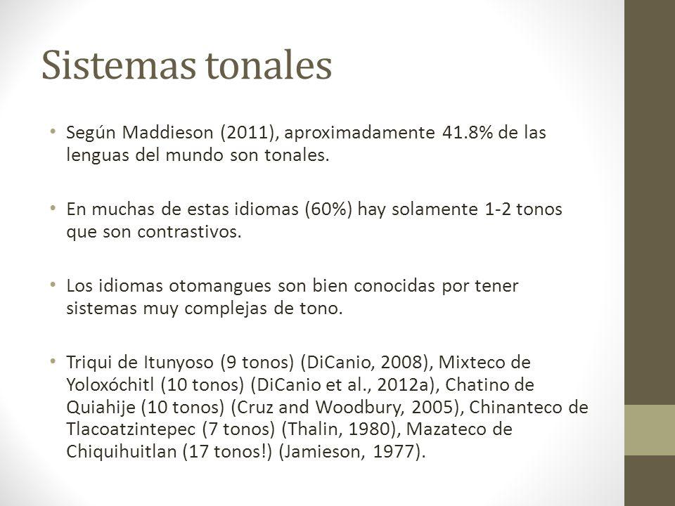 Sistemas tonales Según Maddieson (2011), aproximadamente 41.8% de las lenguas del mundo son tonales.