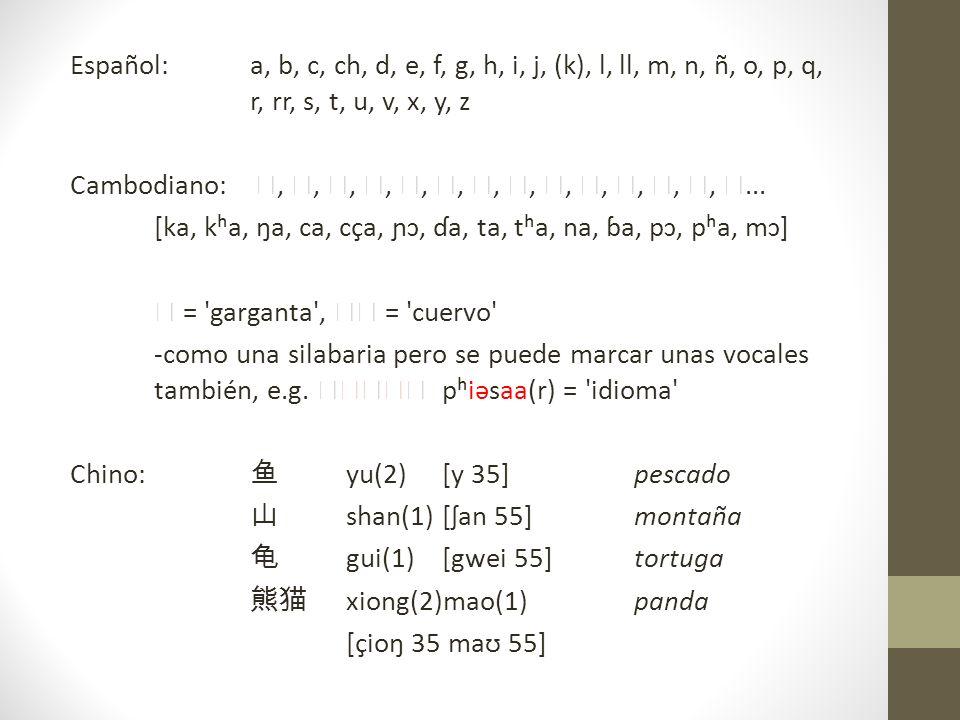 Español: a, b, c, ch, d, e, f, g, h, i, j, (k), l, ll, m, n, ñ, o, p, q, r, rr, s, t, u, v, x, y, z