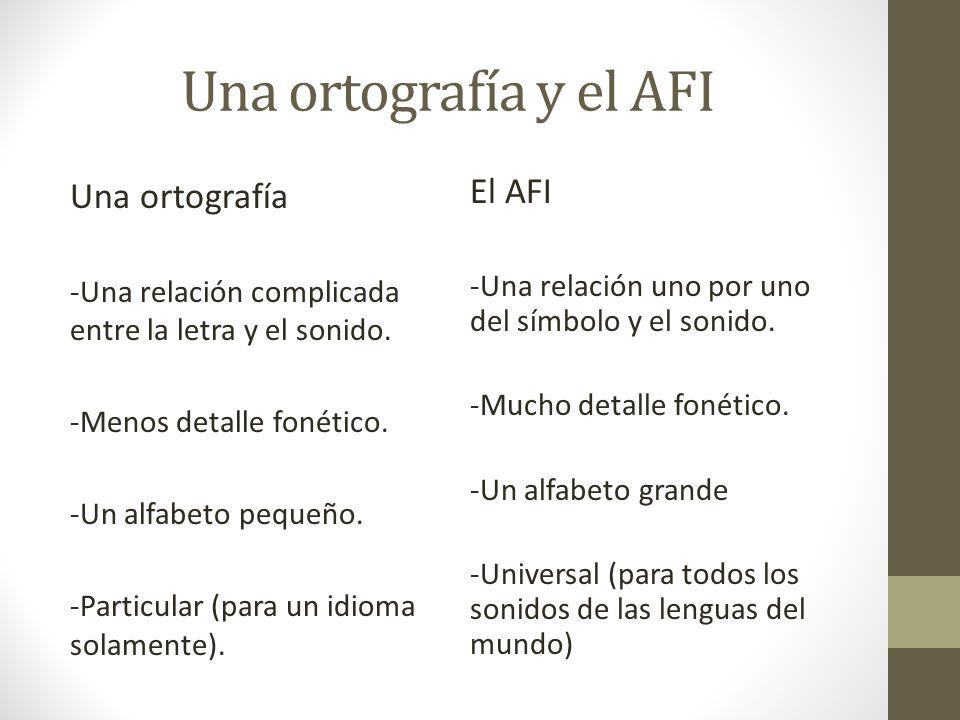 Una ortografía y el AFI Una ortografía El AFI
