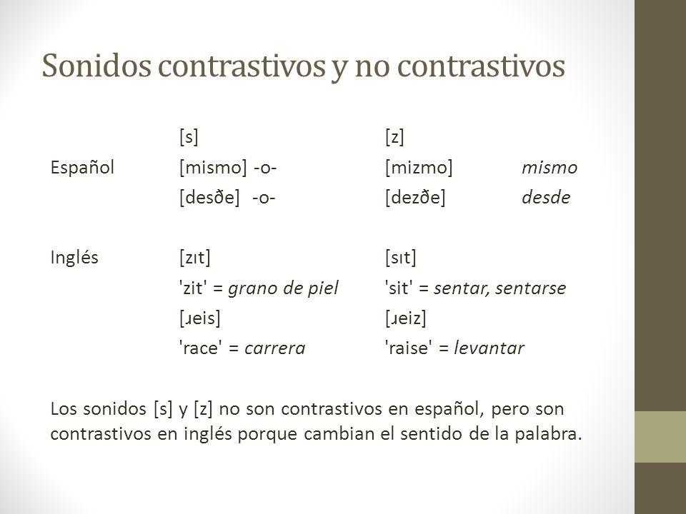 Sonidos contrastivos y no contrastivos