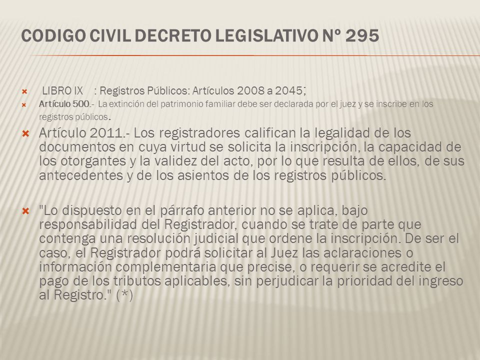 CODIGO CIVIL DECRETO LEGISLATIVO Nº 295