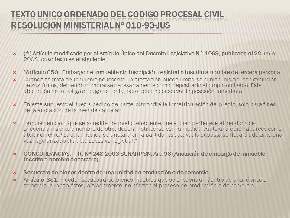 TEXTO UNICO ORDENADO DEL CODIGO PROCESAL CIVIL - RESOLUCION MINISTERIAL Nº 010-93-JUS