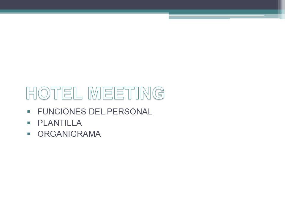 HOTEL MEETING FUNCIONES DEL PERSONAL PLANTILLA ORGANIGRAMA