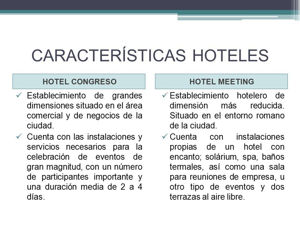 CARACTERÍSTICAS HOTELES
