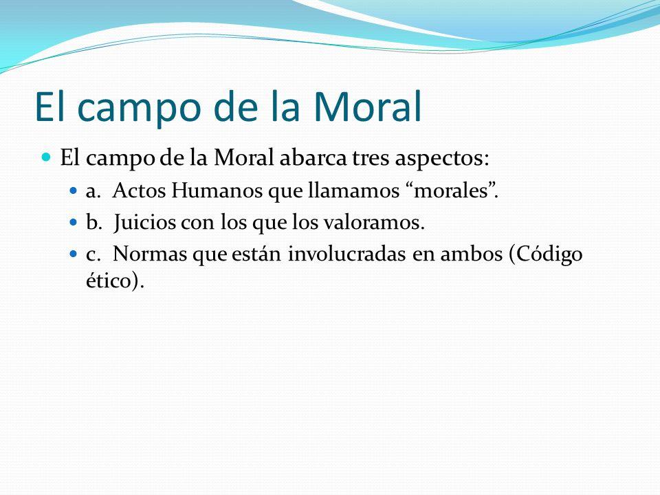 El campo de la Moral El campo de la Moral abarca tres aspectos: